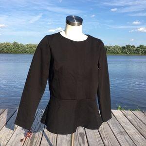 NWT J. Crew black long sleeve peplum zipper top